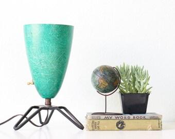 Vintage Green Lamp, Retro Fiberglass Lamp