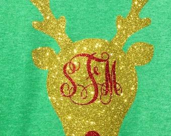 Monogrammed Rudolph Christmas Shirt Girls Glitter Monogram