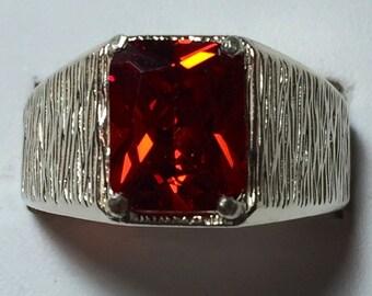 Mens Orange Zircon silver ring