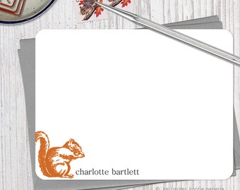 The nutty squirrel - Set of 12 Personalized Flat Note Cards + Envelopes (you choose color)