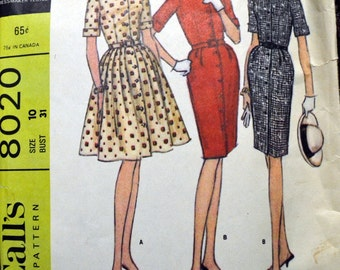 Vintage 1960's Sewing Pattern McCall's 8020 Misses' Dress with Slim or Full Skirt  Size 10 Bust 31 inches  Complete