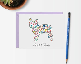 Custom French Bulldog Stationery - Frenchie Stationery - Frenchie Card - French Bulldog Silhouette with Hearts Card - French Bulldog Card