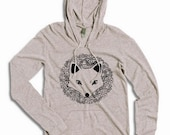 CLEARANCE FOX Hooded Pullover Long Sleeve Jersey Shirt Alternative Apparel Kangaroo Pocket