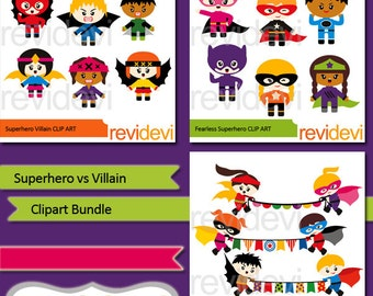 Superhero clip art sale / Superhero vs Villain clipart bundle - Cute superheroes clipart - boys and girls clip art - instant download