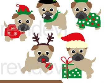 Pugs clipart - Christmas pugs clip art - dog, puppy, pet digital images - christmas holiday graphics - instant download, commercial use