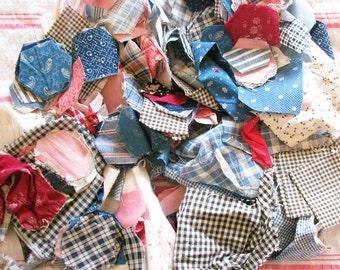 Great Grandma's Quilt Scraps...Lots of Old Calico Fabric Remnants