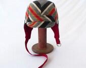 Aviator Hat in Striped Wool Fleece - Gray, Red, Mustard, Black, Cream - Womens, Kids Hats, Winter Hat, Warm Cycling Hat, Geometric Design