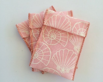 Jewelry Bead Pouches - 15 Sea Shells Pink - Ribbon
