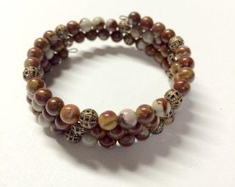 Coffee Jasper bead bracelet memory wire -  copper filigree accent beads