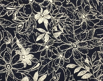 Flowers on dark navy fabric - 1 yard x 42 inches - more available