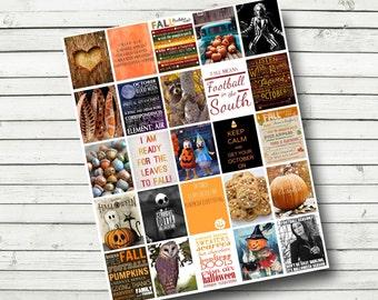 October Monthly Planner Printable Sheet - Print at Home - Planner Quotes, Happy Planner, Halloween, fits Erin Condren Life Planner 1.5x1.9