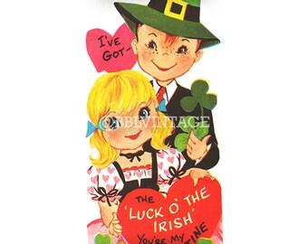 Vintage Digital Greeting Card: St. Patrick's Day Irish Couple Valentine - Digital Download, Printable, Scrapbooking, Image, Clip Art