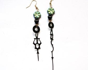 Steampunk Clock Hand Earrings - Neo Victorian  Iridescent Black Glass