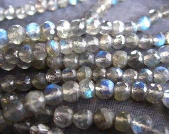 Blue Fire Labradorite faceted 4.5mm rounds stone beads - 12 inch strand