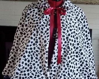 Cruella Deville Capes,Faux Fur Cape,Fur Cloaks,Dalmatian Capelets,Dalmatian Halloween Capes