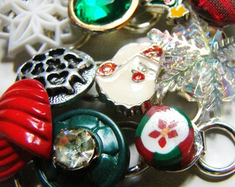 Whimsical Vintage Junk Bracelet - Christmas Collage of buttons, enameled charms, candy, santa, tree, bells, snowflake - Holiday gift for her