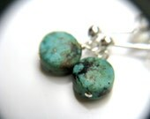 Turquoise Stud Earrings . Genuine Turquoise Jewelry . Raw Stone Earrings . Turquoise Post Earrings Tiny Dangle - Corinth Collection