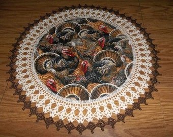 Crocheted Thanksgiving Doilies Thanksgiving Day Fabric Doily Crochet Doily Lace Edge 20 Inches Table Topper Round Doily Handmade Gift