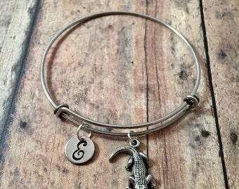 Crocodile initial bangle - crocodile jewelry, zoo animal jewelry, crocodile bracelet, gator bracelet, alligator bangle, zoo bracelet