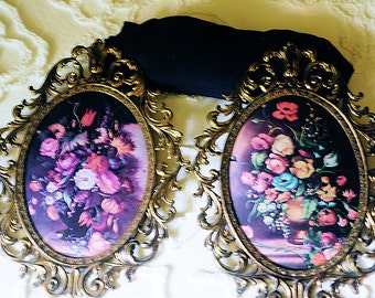 Fancy Ornate Oval Pictures, Floral Pictures, Convex Glass in Ornate Frames
