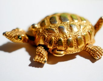 Turtle Perfume Holder, Vintage Golden Turtle with Perfume, Cute Gift for Turtle Lover