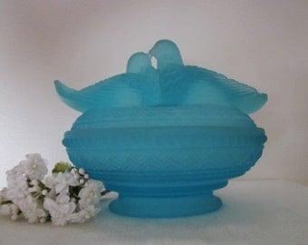Vintage Westmoreland Lovebirds blue satin glass Candy Dish