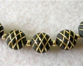 STRIKING BLACK and GOLD Etched Acrylic Beads 12mm