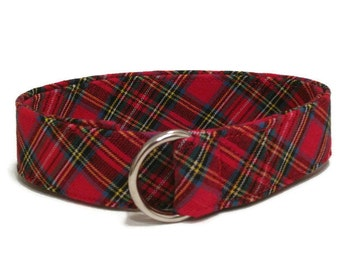 Red Plaid D-ring Belt Child Red Belt Toddler Belt / Christmas Belt / Preppy Belt for Boys Girls Women's waist - Holiday Belt Red Plaid