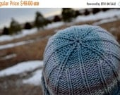 Sale Hallgrímur Hat in Storm Colors - Hand Knit Lumberjack Beanie in Wool & Nylon - Blue, Sky, Sand, Cream - Unisex Adult Size