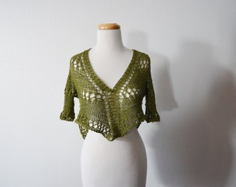 Bohemian Cropped Leaf Top - Loose Knit 100% Cotton Sweater Moss Green with Short Sleeves, Asymmetrical Hems - Hippie, Boho, Handmade