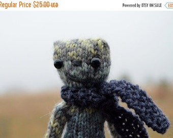 Sale Douglas Monster - Hand Knit Halloween Amigurumi in Greys, Greens, And Yellow. Includes Tiny Handknit Scarf. Halloween, Holiday, Under 2