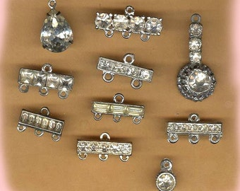 vintage ART DECO rhinestone connectors assorted fun antique findings, TEN findings amazing old rhinestone connectors so many uses