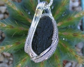 Wire Wrapped Pendant, Wire Wrap, Moldavite Pendant, Heady Wire Wrap, Wire Wrapped Jewelry, Sterling Silver