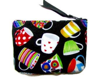 COIN PURSE, coffee money,  small zipper purse, zip case, money wallet, coffee mugs
