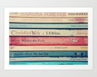 vintage books photo- red- blue- book worm- book lover photo- pink- typography- Childhood Memories- wall art-home decor