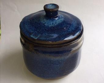 SQUARE lidded jar- blue storage jar-canister- container- ceramic- pottery- storage- decorative J3
