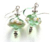 Spring Blossom Earrings with Handmade Lampwork Glass Beads