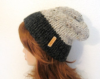Knit Hat, Women Knit Hat, Slouchy Chunky Knit Hat / Aspen  / Charcoal and Grey Marble, READY TO SHIP