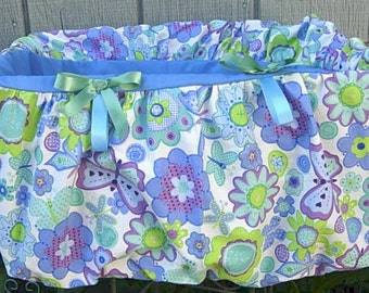 Blue seat with flowrs and butterflies shopping cart cover for toddler girls