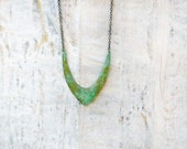 Bohemian necklace long chain necklace Patina Verdigris Chevron Hipster Boho jewelry