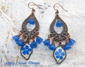 Tropical statement earrings Blue flowers paper copper cruise Bohemian jewelry