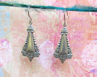 Art Nouveau earrings Small Silver earrings dangle earrings Art Nouveau jewelry everyday simple earrings