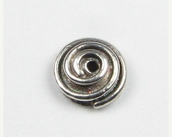 ON SALE Snail Swirl Oxidized Bali 925 Sterling Silver Bead Caps 7mm (1 pair)