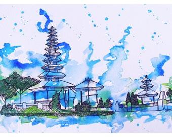 Travel Art, Travel Painting, Bali Watercolor Painting, Bali Art, Indonesia Art, Wanderlust Art, Gift for Traveler, Gift for Her