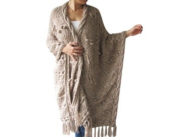 Over Size Plus Size Tweed Beige Hand Knitted Blanket Poncho by Afra