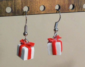 Christmas present earrings Holiday Miniature gift polymer clay festive jewelry surgical steel dangly