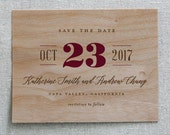 Wooden Save the Date Card, Vineyard Charm Real Wood