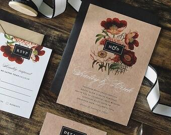 Rustic Elegance Vintage Floral Wedding Invitation - Sample