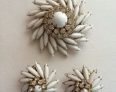 50's 60's Signed Judy Lee Brooch and Clip Earring Set White Glass Starburst Rhinestone