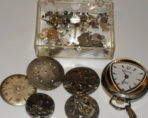 Vintage  Pendant Watch and Watch Parts